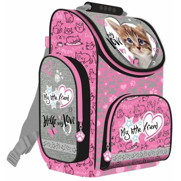 34dda2e35b19 My little friend cicás ergonomikus iskolatáska, hátizsák - My love - szürke- rózsaszín - Gyerekajándék
