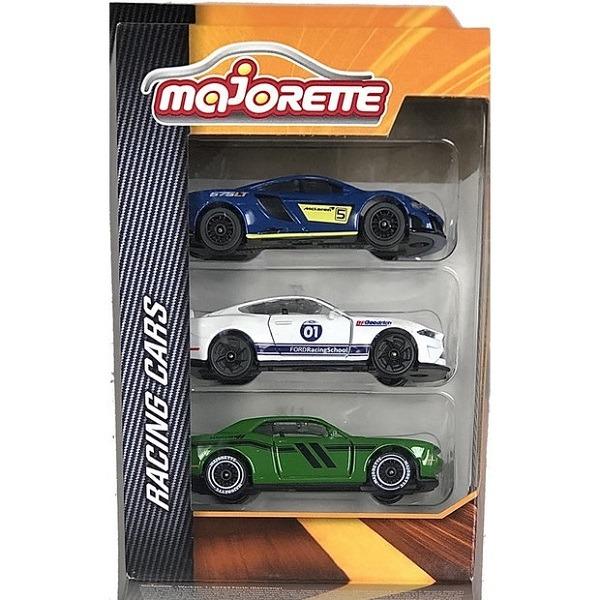 Majorette Racing Cars versenyautó szett 3 db-os - kék/fehér/zöld