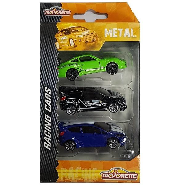 Majorette Racing Cars versenyautó szett 3 db-os - zöld/fekete/kék