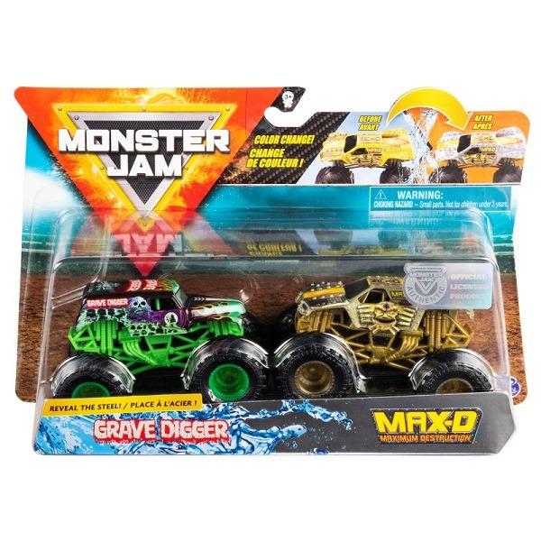 Monster Jam színváltó autó 2 db-os szett Grave Digger és MAX-D