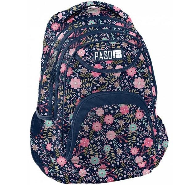 Paso virágos ergonomikus iskolatáska, hátizsák 3 rekeszes - Spring