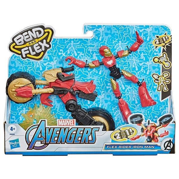 Marvel Avengers Bend and Flex Rider figura járművel - Iron Man